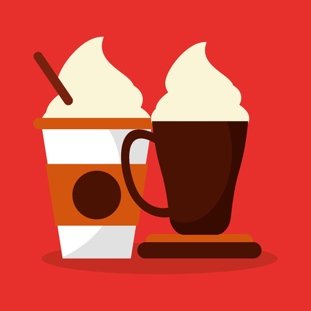 cappucino: colorful background glass disponsable and mug with of cappucino and cream vector illustration