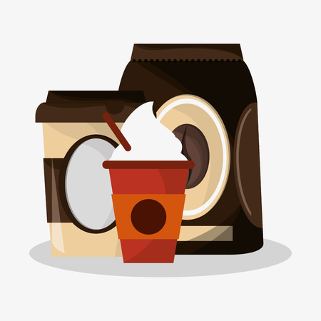 cappucino: packaking of coffee with set glass disponsable for hot drinks of cappucino with cream vector illustration