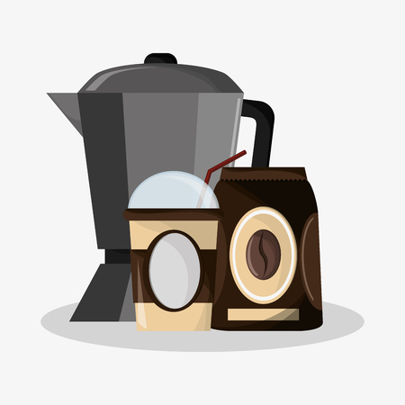 tin packaging: set metallic jar with  coffee with glass  for hot drinks with lid vector illustration