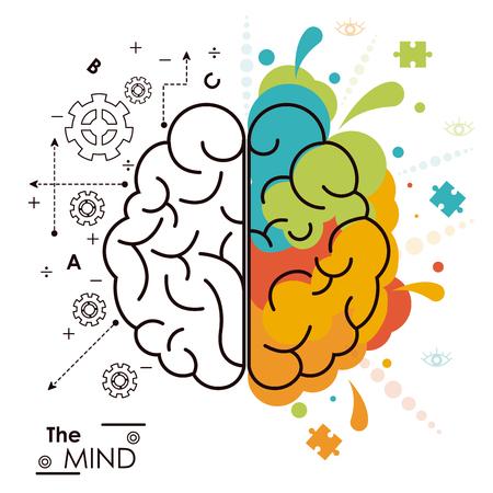 the mind brain human functions left right design vector illustration Vettoriali