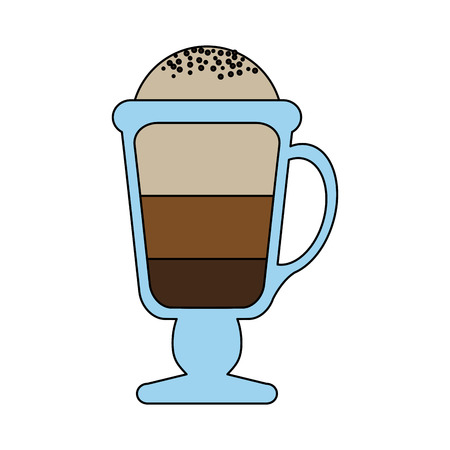color graphic glass cup of cappuccino with foam vector illustration Illustration