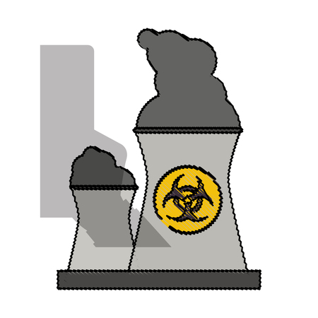 caution chemistry: color blurred industrial factory icon biohazard vector illustration