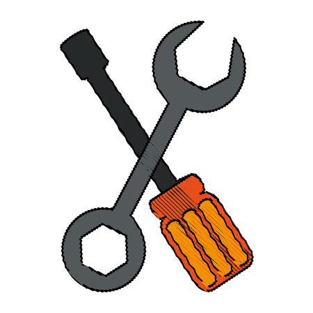 color blurred set wrench and screwdriver vector illustration