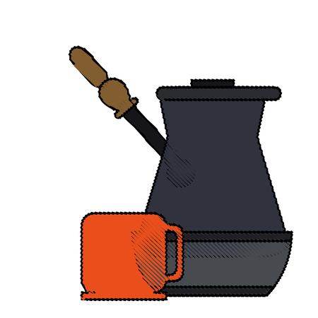 color blurred metallic jar of coffee with handle and porcelain mug vector illustration