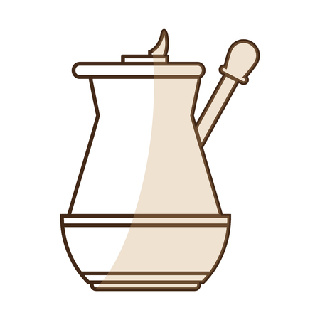brown silhouette shading jar of coffee with handle vector illustration