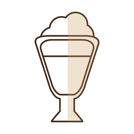 brown silhouette shading of glass cup of cappuccino with cream vector illustration