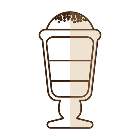 brown silhouette shading of glass cup of cappuccino with foam vector illustration