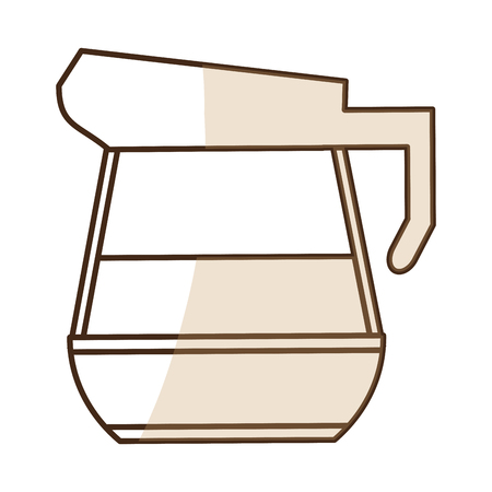 brown silhouette shading glass jar of coffee with handle and coffee vector illustration