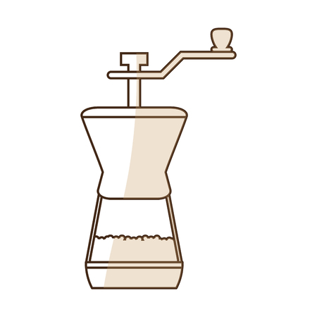 brown silhouette shading coffee grinding jar with crank vector illustration Illustration