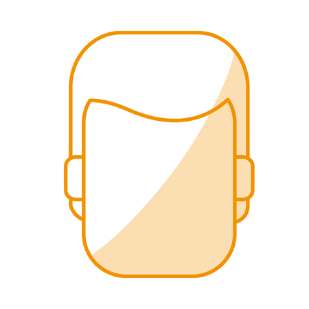 orange silhouette shading of faceless front view man with hairstyle vector illustration