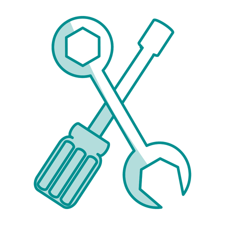 tooling: blue silhouette shading of set wrench and screwdriver vector illustration