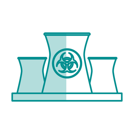 caution chemistry: blue silhouette shading of industrial factory icon biohazard vector illustration