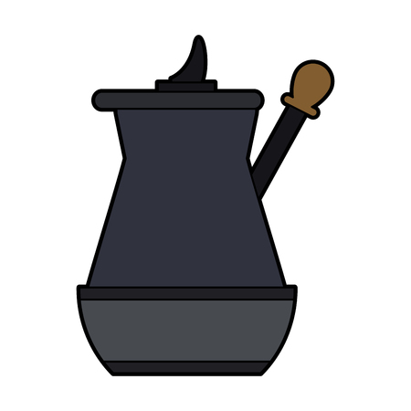 colorful silhouette metallic jar of coffee with handle vector illustration Illustration