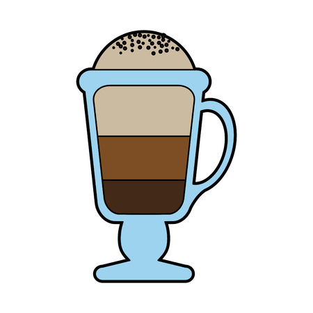 colorful silhouette glass cup of cappuccino with foam vector illustration