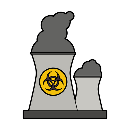 caution chemistry: colorful silhouette industrial factory icon biohazard vector illustration Illustration