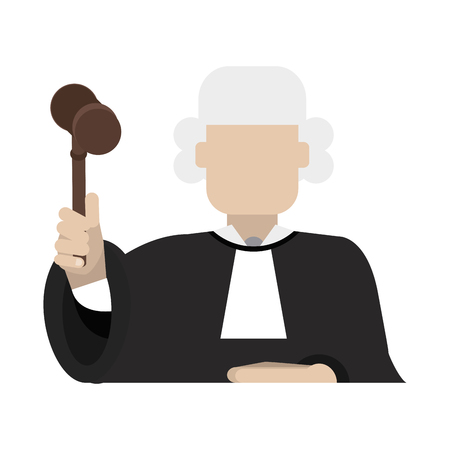courthouse: judge wearing white wig and holding gavel law and justice icon image vector illustration design Illustration