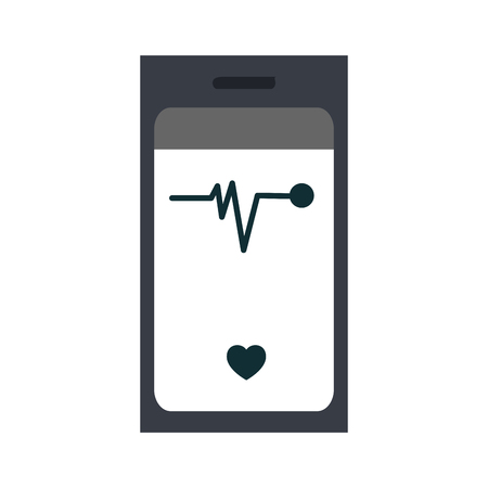 heart rate monitor on cellphone screen icon image vector illustration design