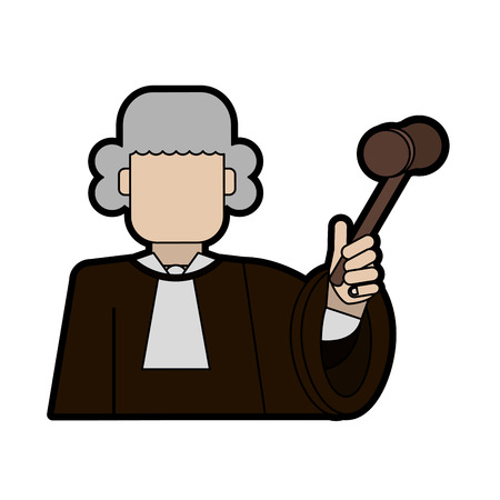 judge wearing white wig and holding gavel law and justice icon image vector illustration design Illustration