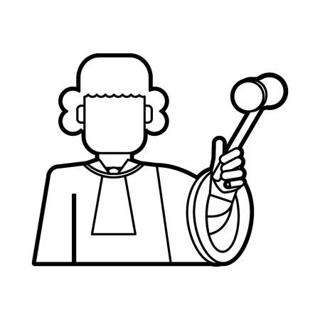 lawyer wig judge wearing white wig and holding gavel law and justice icon image vector