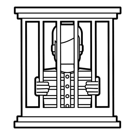 villain: male prisoner behind bars icon image vector illustration design
