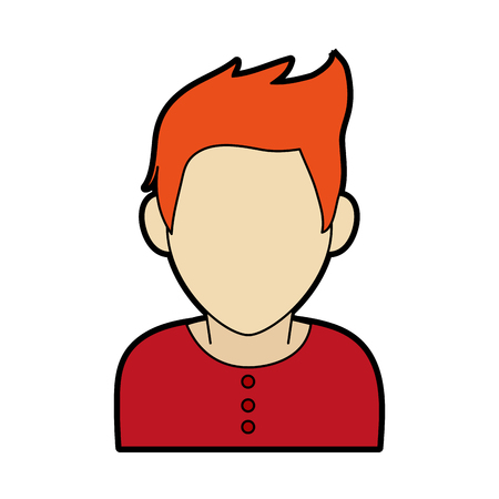 faceless man with scruffy orange hair icon image vector illustration design