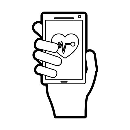 mobile heart rate monitor icon image vector illustration design  black line