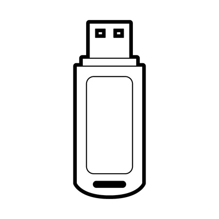 usb drive icon image vector illustration design  black line