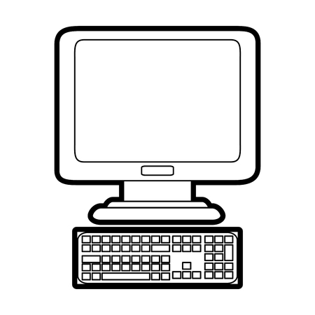 flat screen tv: computer with keyboard  icon image vector illustration design  black line