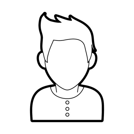 faceless man with scruffy hair icon image vector illustration design  black line Illustration