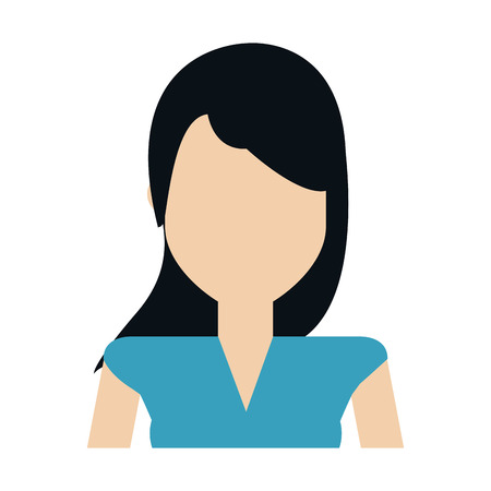 faceless woman with long straight hair portrait icon image vector illustration design