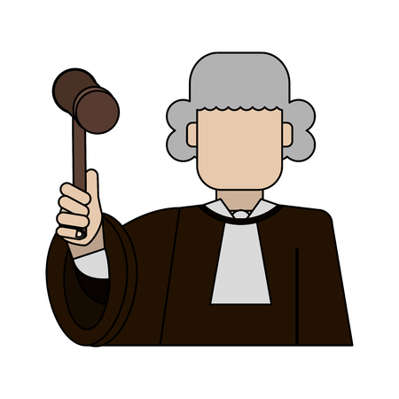 Color graphic faceless judge with a mallet vector illustration
