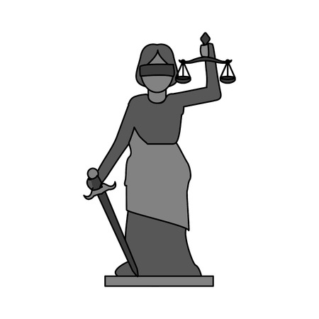 Gray color graphic goddess of justice symbol vector illustration