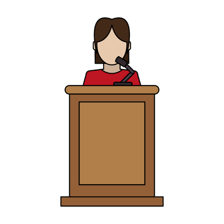 Faceless person in law courts with microphone vector illustration Illusztráció