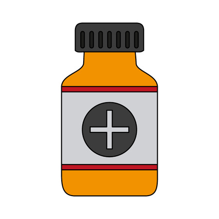 prescription bottles: color graphic remedy bottle with tap and label vector illustration