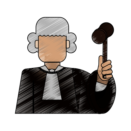 Color blurred stripe of faceless man judge with a hammer vector illustration