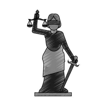 color blurred stripe of goddess of justice symbol vector illustration Illustration