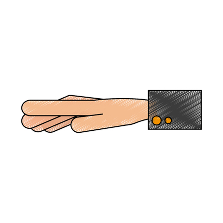 outstretched: Color pencil of outstretched hand with sleeve vector illustration Illustration