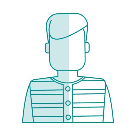 blue silhouette shading faceless man prisoner with uniform vector illustration