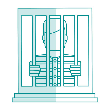 blue silhouette shading faceless man in jail behind bars vector illustration