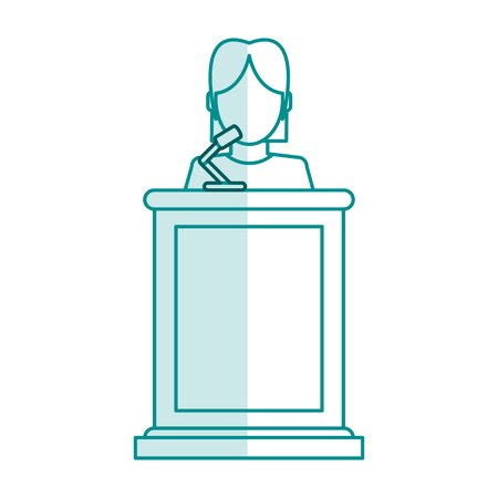 blue silhouette shading faceless person in law courts with microphone vector illustration Illusztráció