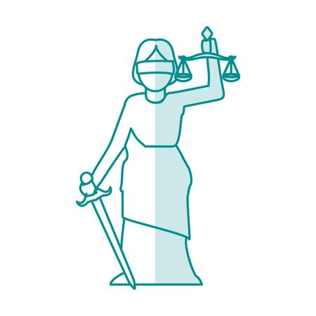 blue silhouette shading goddess of justice symbol vector illustration