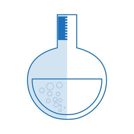 medical symbol: blue silhouette shading glass circular beaker for laboratory vector illustration Illustration