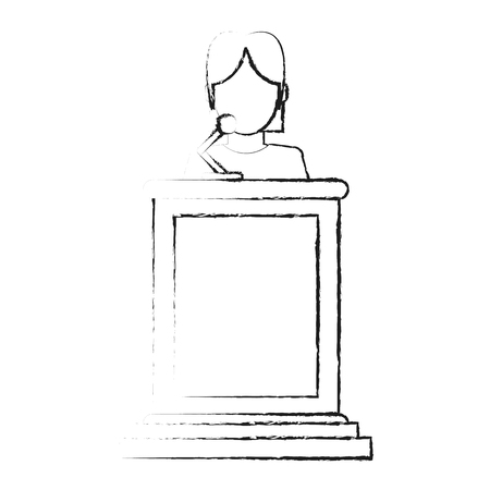 blurred silhouette faceless person in law courts with microphone vector illustration
