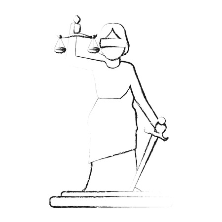 blurred silhouette goddess of justice symbol vector illustration Illustration