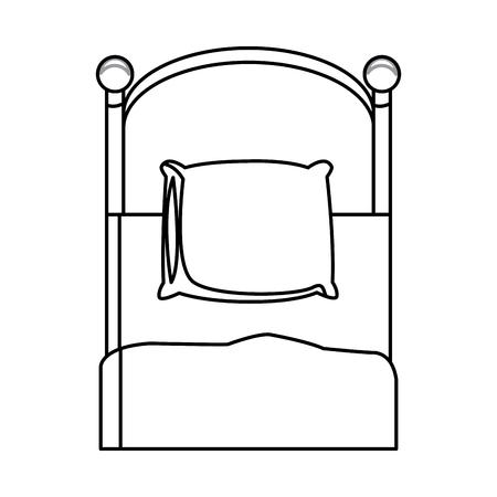 single bed wooden pillow bedding outline vector illustration