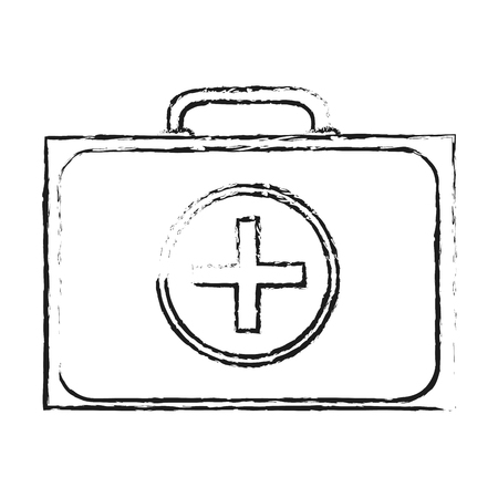 medical symbol: blurred silhouette first aid kit with symbol cross vector illustration