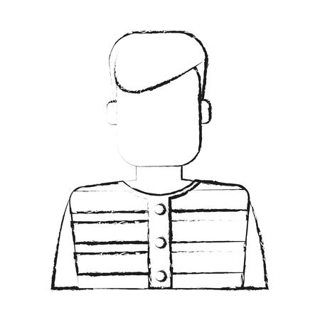 blurred silhouette faceless man prisoner with uniform vector illustration Illustration