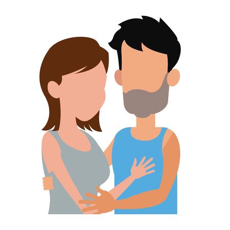 embracing couple relationship together image vector illustration