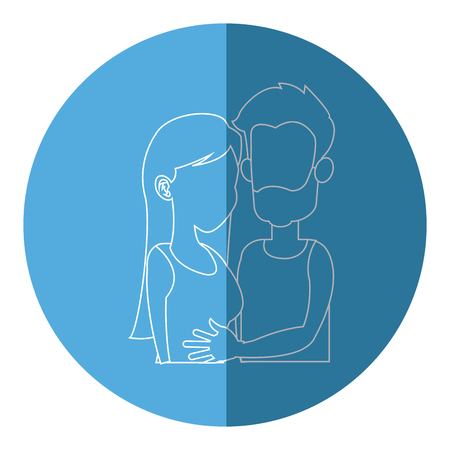 silhouette embracing couple relationship blue icon vector illustration