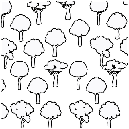 scratches: tree different foliage plant botanical seamless pattern design outline vector illustration
